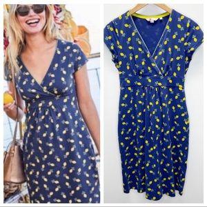 Boden Lemon Print Casual V Neck Dress